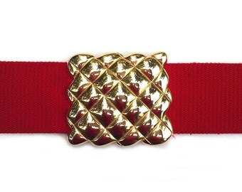 Vintage red waffle belt, red elastic belt with gold tone basketweave buckle, square metal waffle buckle, gold honeycomb cinch