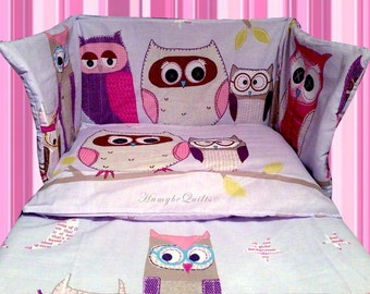 Owls Girls Bedding Set Purple