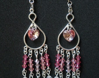 Pink Hearts - Swarovski and Celestial Crystal Earrings