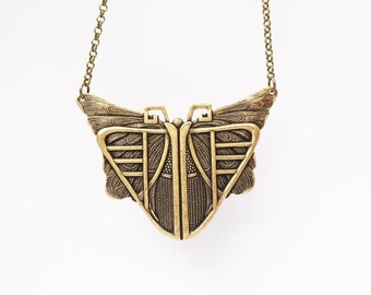Art Deco Butterfly  Necklace Antique Brass