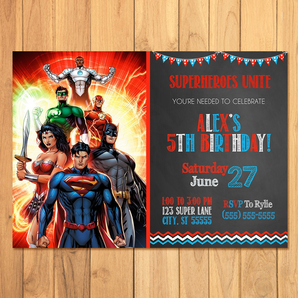 Justice League Invitations Free: Superhero Invitation Chalkboard Superhero Justice League