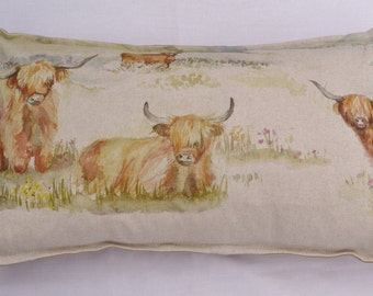 cow cushion cover ~highland cattle voyage fabric~ country home decor, farm animal, cow, linen cushion cover, farmhouse decor, pillow cover