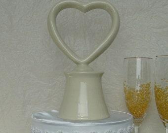 Unique Wedding Cake Topper, simple design, heart, secret compartment for a wedding memento