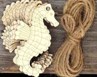 10 Wooden Seahorse Craft Shapes 3mm Plywood