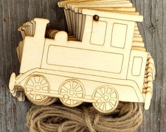10 Wooden Comic Train Craft Shapes 3mm Plywood