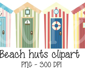 Digital Beach Huts Clipart Printable Instant Download PNG Scrapbooking Sticker Invitation Cards Commercial use