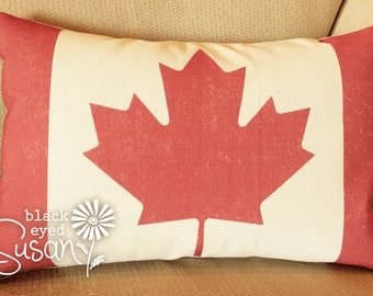 "Distressed Canadian Flag Pillow Cover of Natural 100% Cotton Canvas or Lined Burlap | 12"" x 18"" or 16"" x 23"" w/ Hand Painted Button Closure"