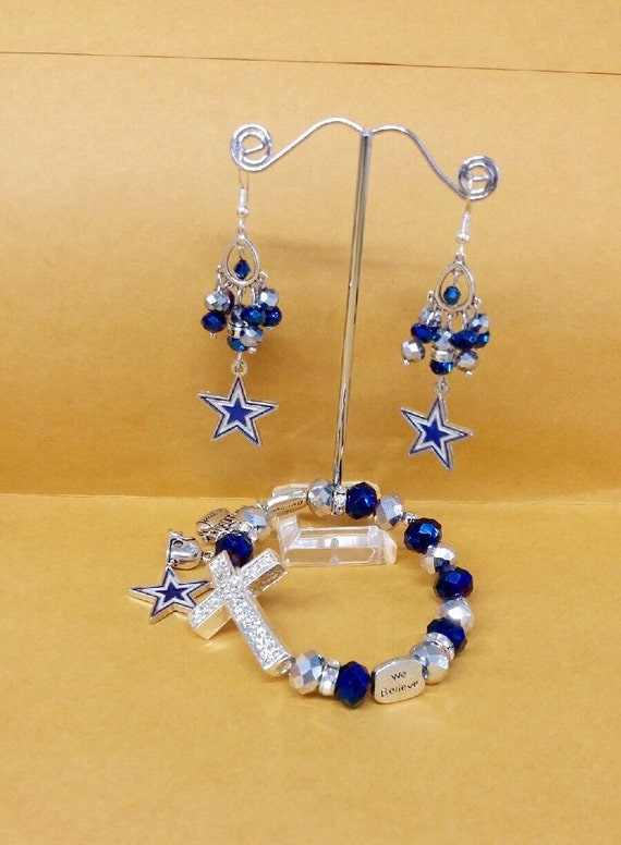 dallas cowboys cross charm bracelet and by toshiesjewelry. Black Bedroom Furniture Sets. Home Design Ideas