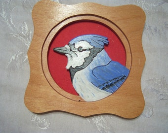 Framed Wooden Blue Jay wall decoration