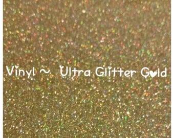 Gold Glitter Adhesive Craft Vinyl, Ultra Glitter, 2 Mil High Performance, Glitter Vinyl, Decal Vinyl, Scrapbooking, DIY Wedding Decor