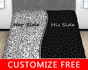 His Hers Leopard Print Bed Sheet, His Side Her Side Bedding, Couples Fitted Sheet, Couples Top Sheet, Love, Twin, Full, Queen, King