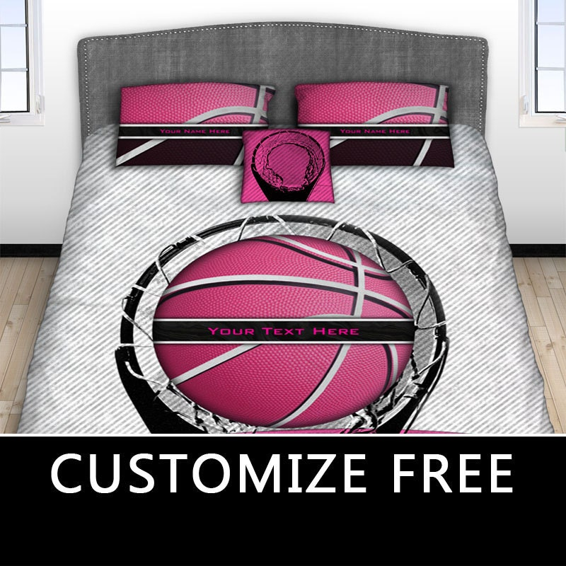 pink basketball hoop bedding basketball bed set by producstbyme