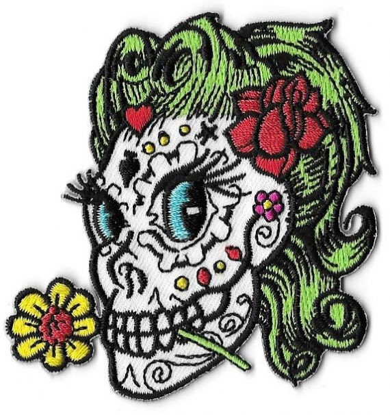 Sugar Skull Betty Embroidered Patch Iron On Applique Artist