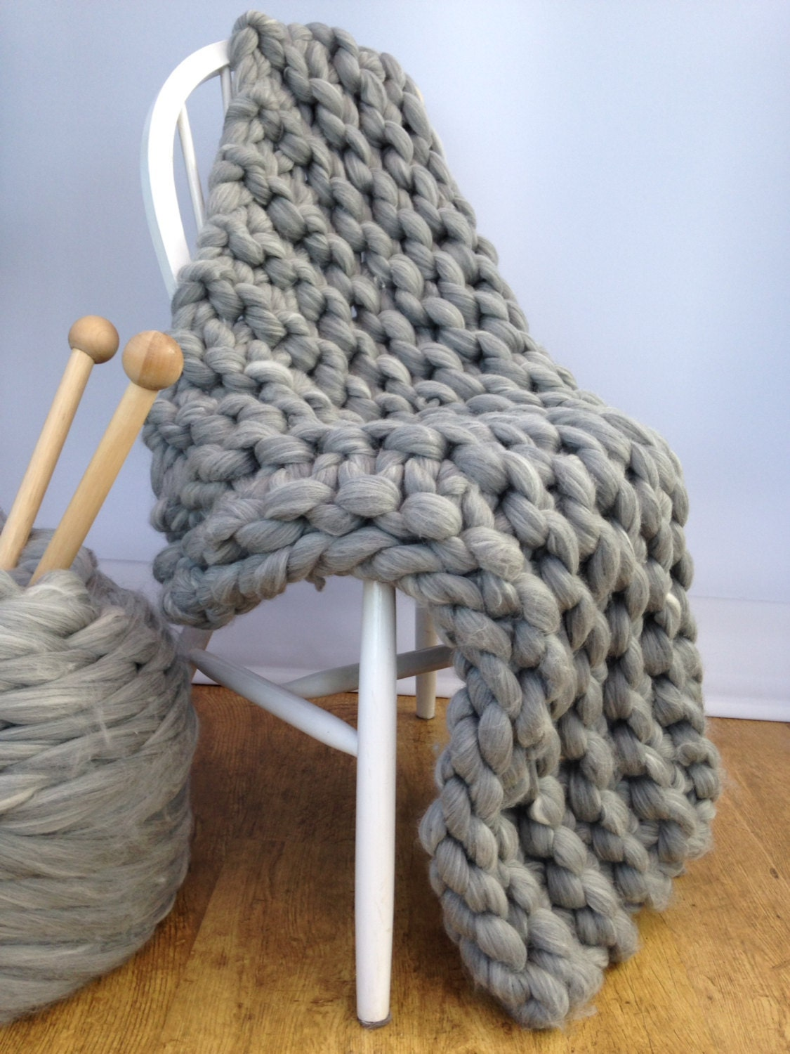 Knitting Patterns Kits : Blanket KNITTING KIT. Giant 40mm Knitting by WoolCoutureCompany