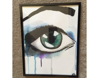 Original Handpainted Watercolor Eye