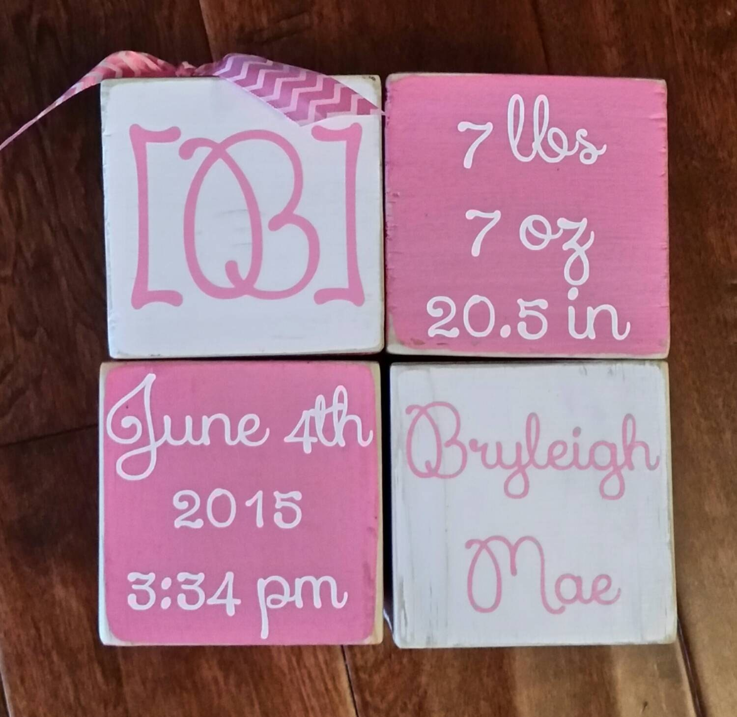 Personalized Wooden Baby Birth Announcement Blocks