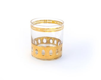 Art deco gold leaf short glass