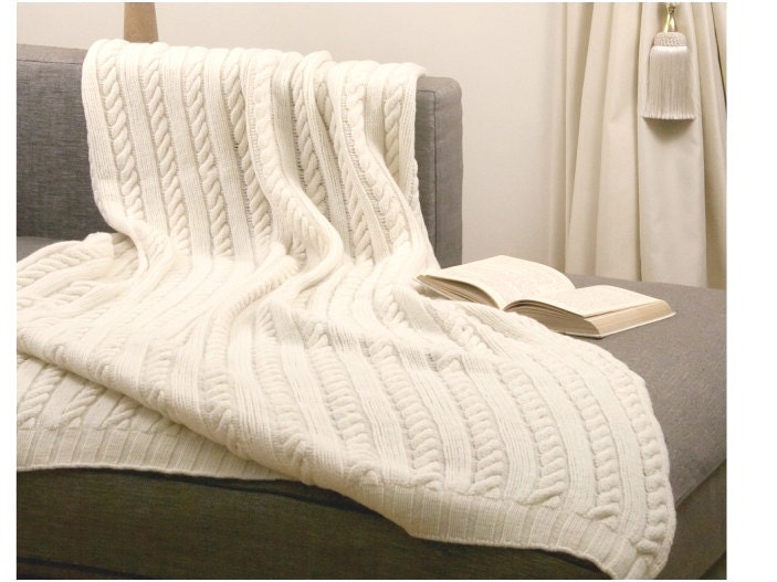 White Cable Knit Blanket 100 Merino Wool Knitted Bedding