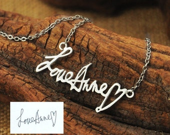 Personalized Signature Necklace, Handwriting necklace, Handwritten, handmade 925 sterling silver signature necklace, gift for her
