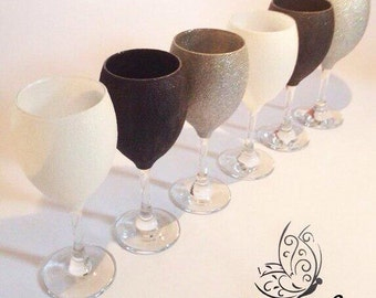 Happy Crafts Glitter Wine Glasses White Silver & Black