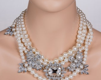 Pearl Statement Necklace, Wedding Necklace, Bridal Necklace Perfect for weddings, prom, or any other special occasion N58