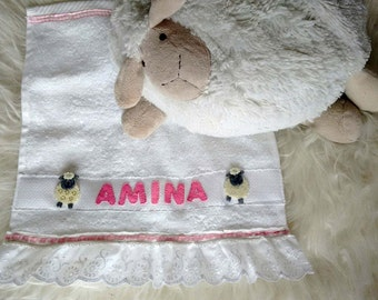 Personalized baby towel keepsake - My pink little lamb