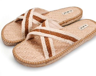 Summer slippers line desert hemp slippers sandals man a word procrastinates cool slippers fashion flat at home