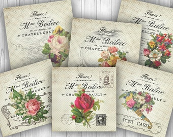 Vintage Flowers Square Tags - 5 x 5 inches - Digital ATC Background Collage Sheet 6 French Rose Flowers Labels