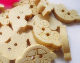 12pcs--Car Wooden Buttons, Blanched Almond (B31-1)