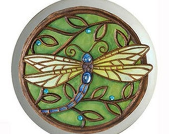 Green Dragonfly Ceramic Knobs or Pulls for Furniture or Cabinets