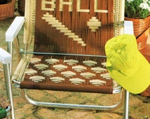 Vintage Macrame Cording Lawn Chair Folding Chair Pattern 1970s Play Ball Sports Baseball and Bat Motif PDF Instant Download