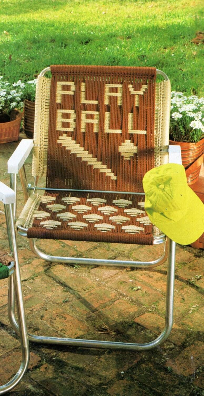 Vintage Macrame Cording Lawn Chair Folding Chair Pattern 1970s