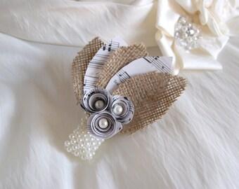 Music corsage - Paper flower wedding corsage - music