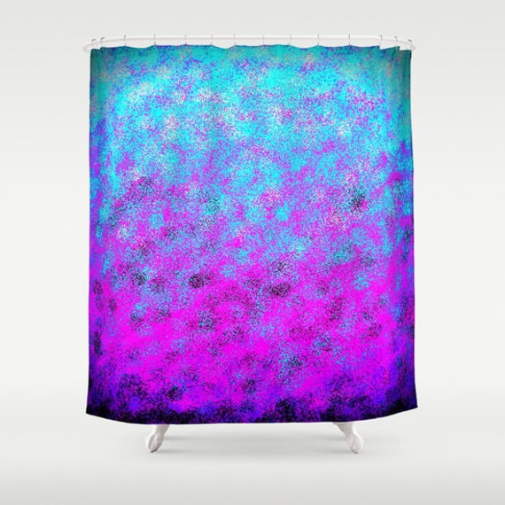 Shower curtain pink purple blue shower curtain by for Blue and purple bathroom ideas