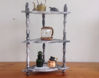 Wooden corner 'Wot Not' trinket shelf