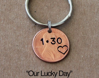 Graduation gift, Personalized penny keychain OUR LUCKY DAY, Anniversary Gift,  personalized penny, Boyfriend, Girlfriend, lucky penny