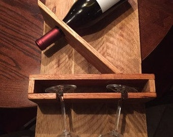 Items similar to rustic wood wine rack bottle holder for - Support bouteille vin mural ...