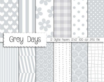 """Grey Digital Paper: """"Grey & white"""" digital paper pack with dots, hearts, flowers, ginghams"""