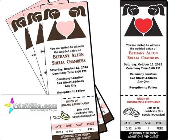 Lgbt Wedding Invitations: Lesbian Wedding Ticket Invitations Set Of 12 Bride & Bride