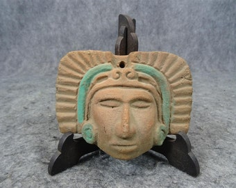 Vintage Handmade Clay Pottery Aztec Head Sculpture with Stand