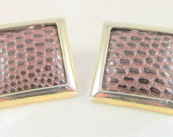 Vintage Leather Square Button Pierced Earrings