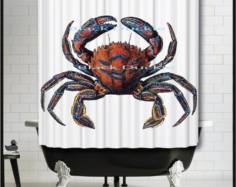 Blue And Orange Crab Shower Curtain   Nautical Crab Shower Curtain, Crab  Beach Cottage Decor
