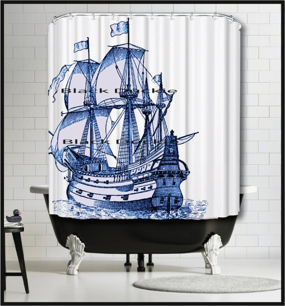 Blue Sailing Ship Shower Curtain -Tall Ship Shower Curtain - Galleon Ship Blue Nautical Decor Shower Curtain