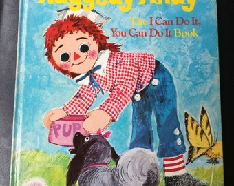 Raggedy Andy- The I Can Do It, You Can Do It Book by Norah Smaridge and illustrated by June Goldsborough vintage 1976 oversize Golden Book