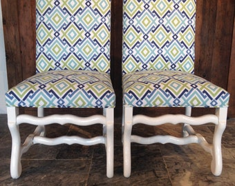 Blue and Green Diamond Dining Chairs