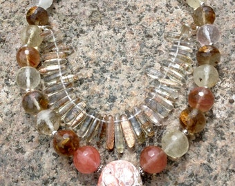 Double Strand Quartz Necklace Crazy Lace Agate Pendant Sterling Silver Jewellery