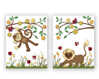 Safari poster neutral nursery wall art jungle artwork animal decoration kids room decor yellow brown monkey lion ladybug playroom decor