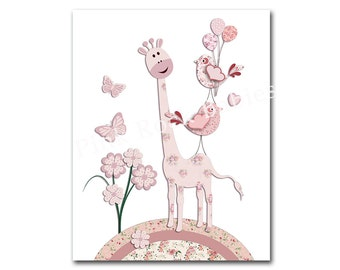 Baby girl room wall art pink nursery wall decor kids room poster children wall decoration playroom artwork pink giraffe baby shower gift