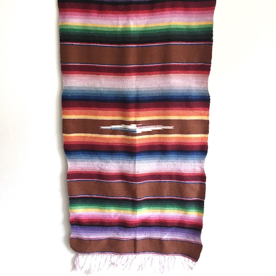 Vintage Mexican Sarape Or Wall Hanging Colorful Textile Wall