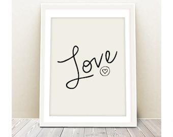 Love Wall Art - INSTANT DOWNLOAD - Printable Poster, Heart print, Love art print, wall art, wall decor, art print, digital file, printable